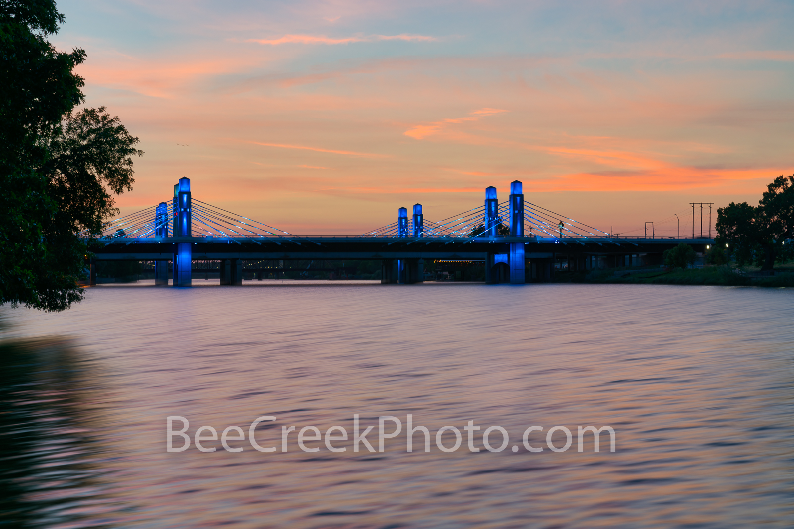 Waco, Brazos River. bridge, sunset, downtown, IH35, stay bridge, colorful led, texas, landscape, america, texas river, scenic, scenic landscape, Texas landscape,, photo