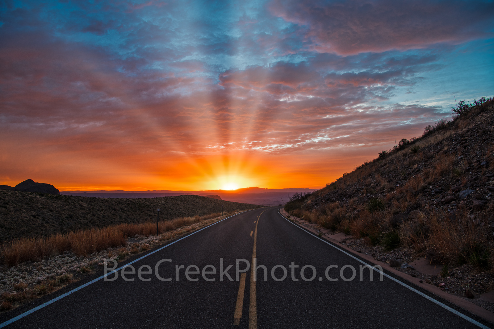 Sunset, Ross Maxwell Scenic Drive, Big Bend National Park, texas landscape, suns rays, road,Santa Elena Canyon, Texas sunset, landscape, texas landscape,  texas sunset,, photo
