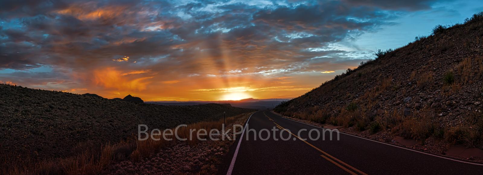Sunset, Ross Maxwell Scenic Drive, Big Bend National Park, pano, panorama, panoramic, texas landscape, suns rays, road,Santa Elena Canyon, Texas sunset, landscape,  texas landscape,  , photo