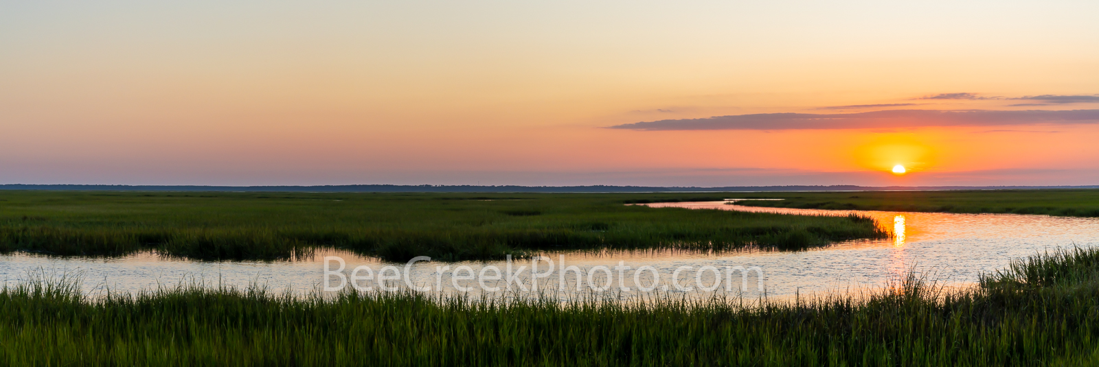 salt marsh, marshland, marsh, jekyll island, barrier island, st. simon island, georgia, coast, sunset, orange, pink, golden isles, barrier island sky, shrimp, nature, shrimping, natural, pano, panoram, photo