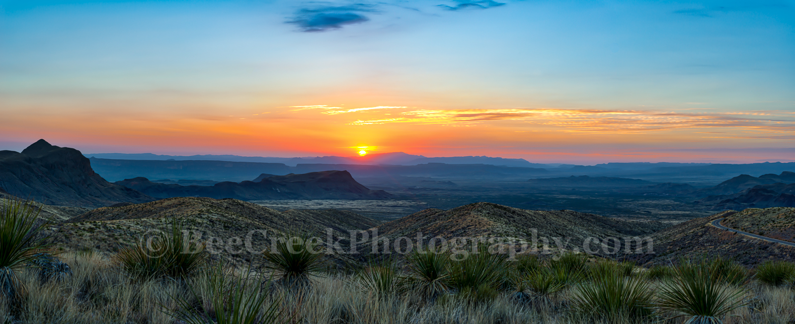 Big Bend National Park, Chihuahuan Desert, Dead Horse mountains, Mountains, Santa Elena Canyon, Sierra Ponce, Sotol Vista Overlook, colorful, landscape, pano, panorama, sky, sotol, sunset, yuccas, photo