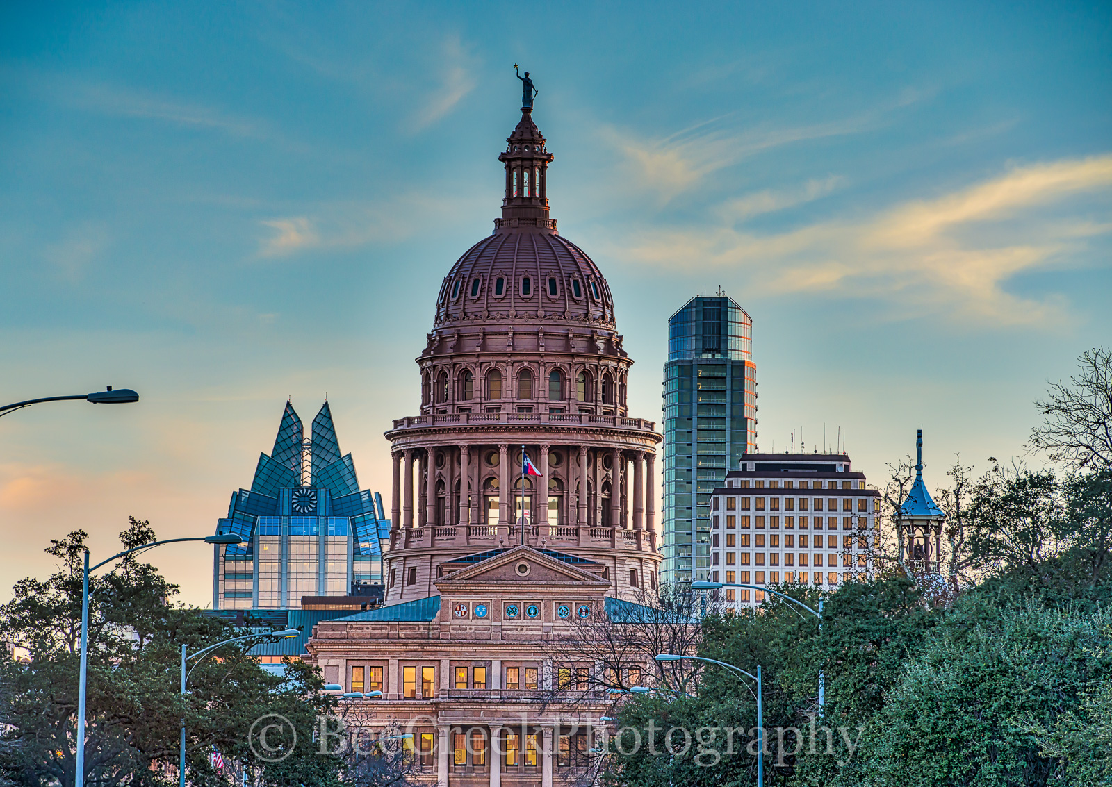 Texas Capitol at Dusk-The Texas Capitol at dusk in downtown Austin with the city skyline behind it is a stunning...