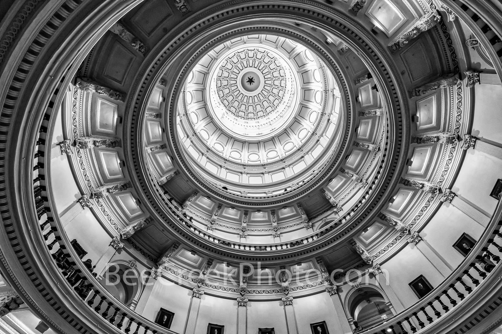 Texas Capitol Dome Ceiling BW 2 - The interior dome looks more like a ceiling topped with the 8-foot wide star, surrounded by...
