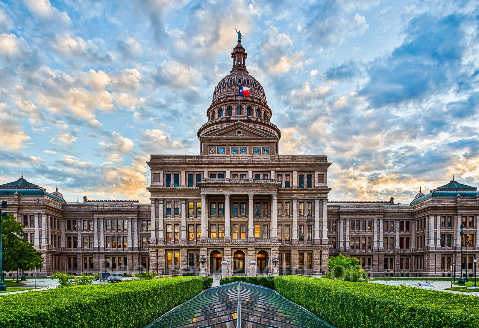 Texas Capitol in Austin- This is another view of the Texas Capitol in Austinasthe sun going down behind...