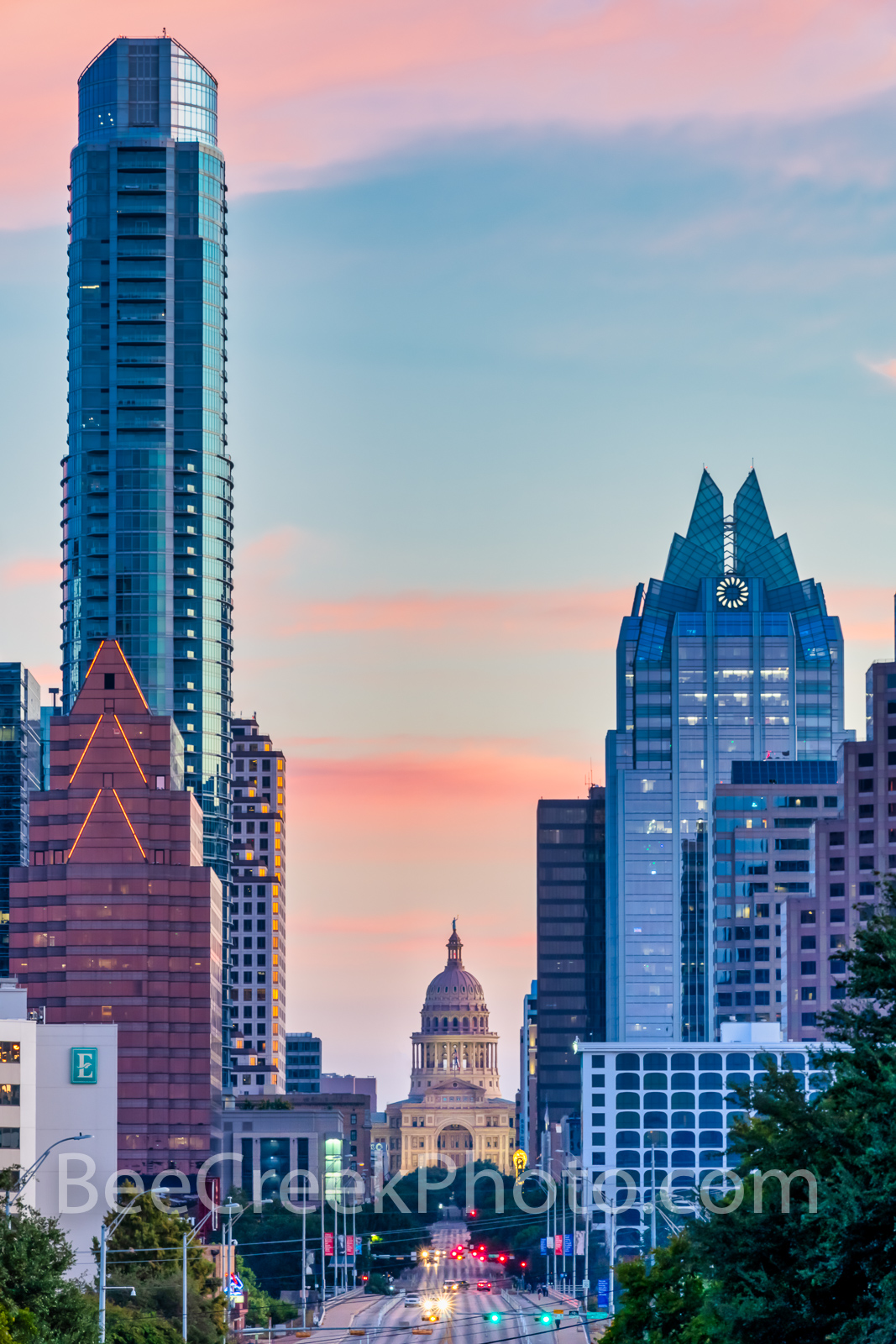Texas Capitol Sunrise from Austin SOCO Vertical 2 - A tighter view looking up Congress toward the Texas Capitol in downtown Austin...