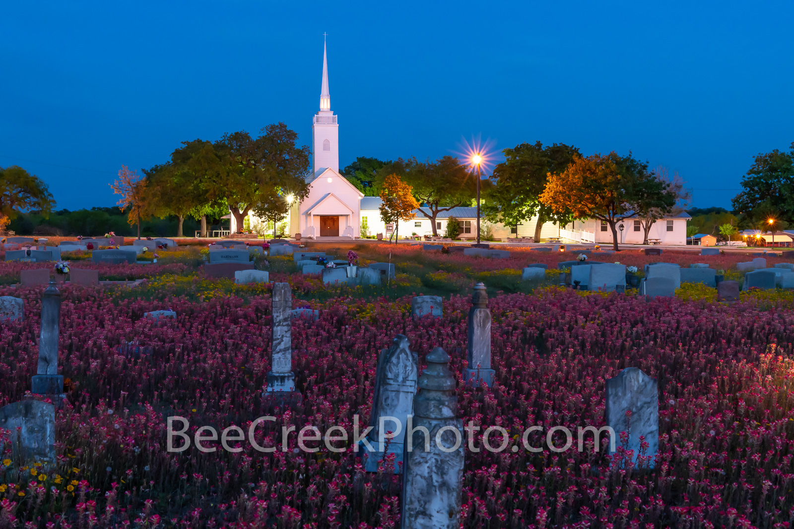 Texas church, country road, back road, wildflowers, indian paint brush, yellow daisy, cementary, head stones, religious, texas church night, church, spring, texas wildflowers, graves, country,  , photo