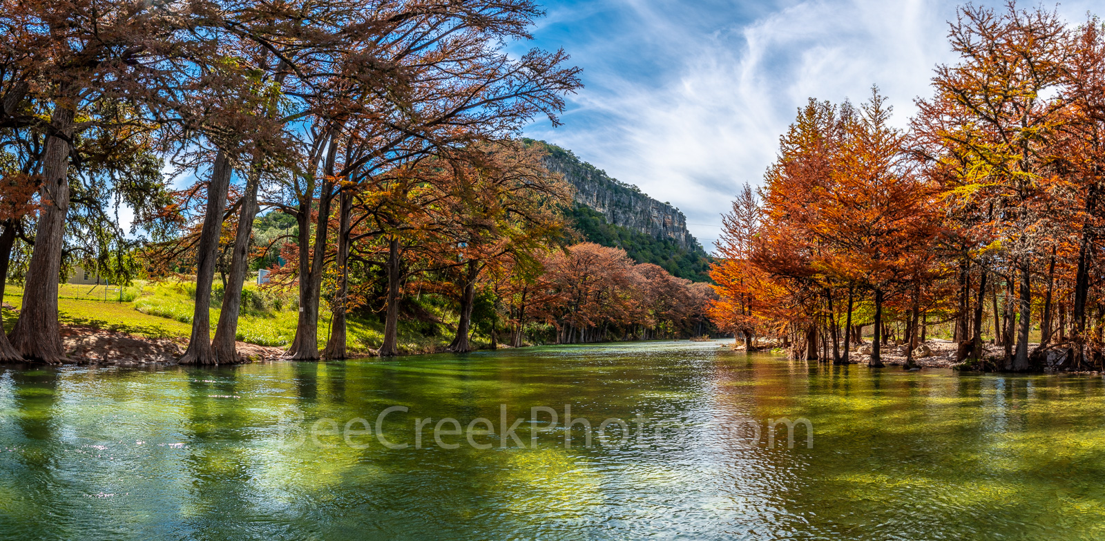 Fall Foliage, fall, cypress branches, cypress tree, maples, fall, autumn, frio river, old baldy, colors, Garner State Park, panorama, pano, panoramic, Texas, landscape, texas hill country, canvas, pri, photo