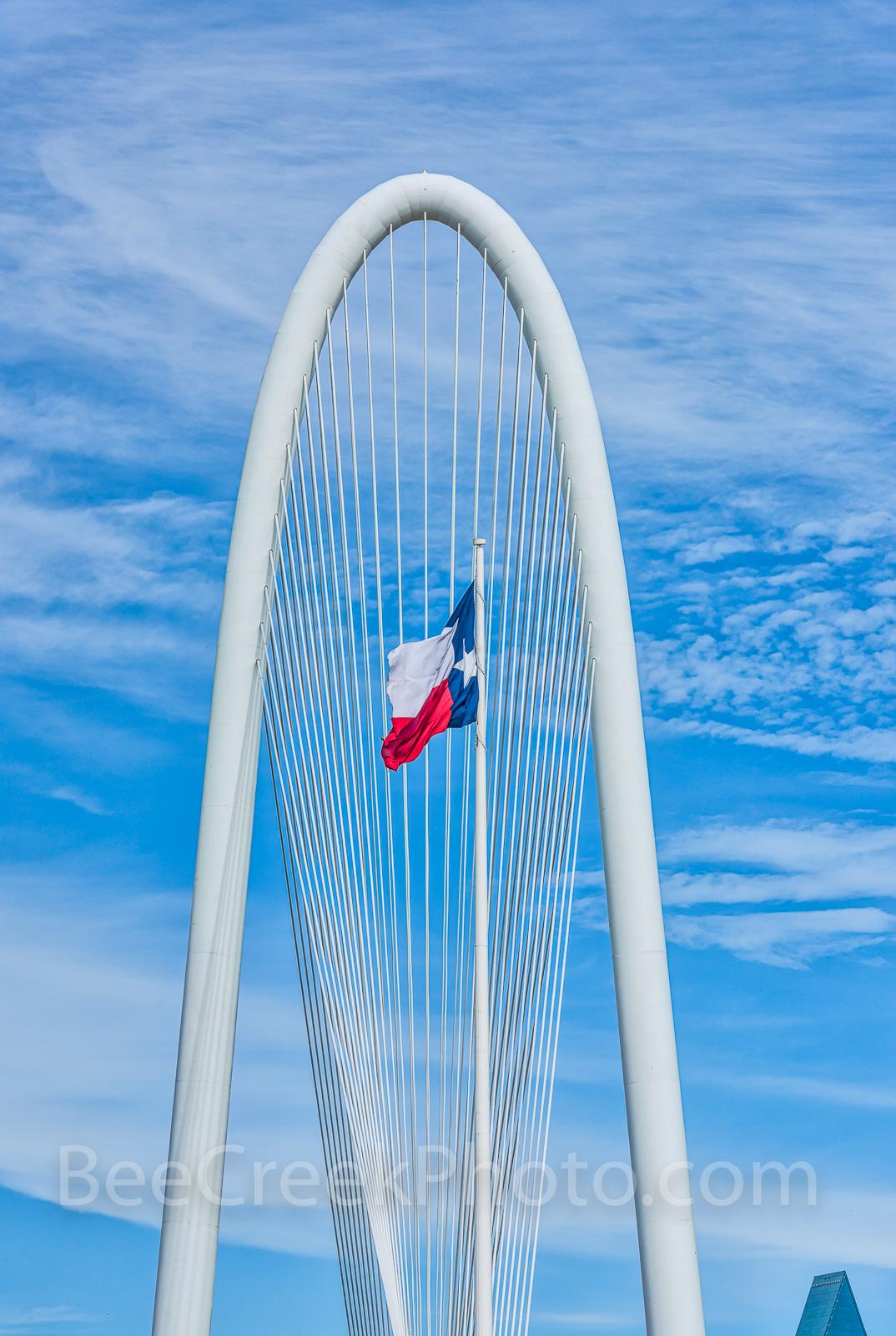 Dallas, Texas Flag, Margaret Hunt Hill bridge, bridge, arch, architecture, cityscape, city, downtown, urban,, photo