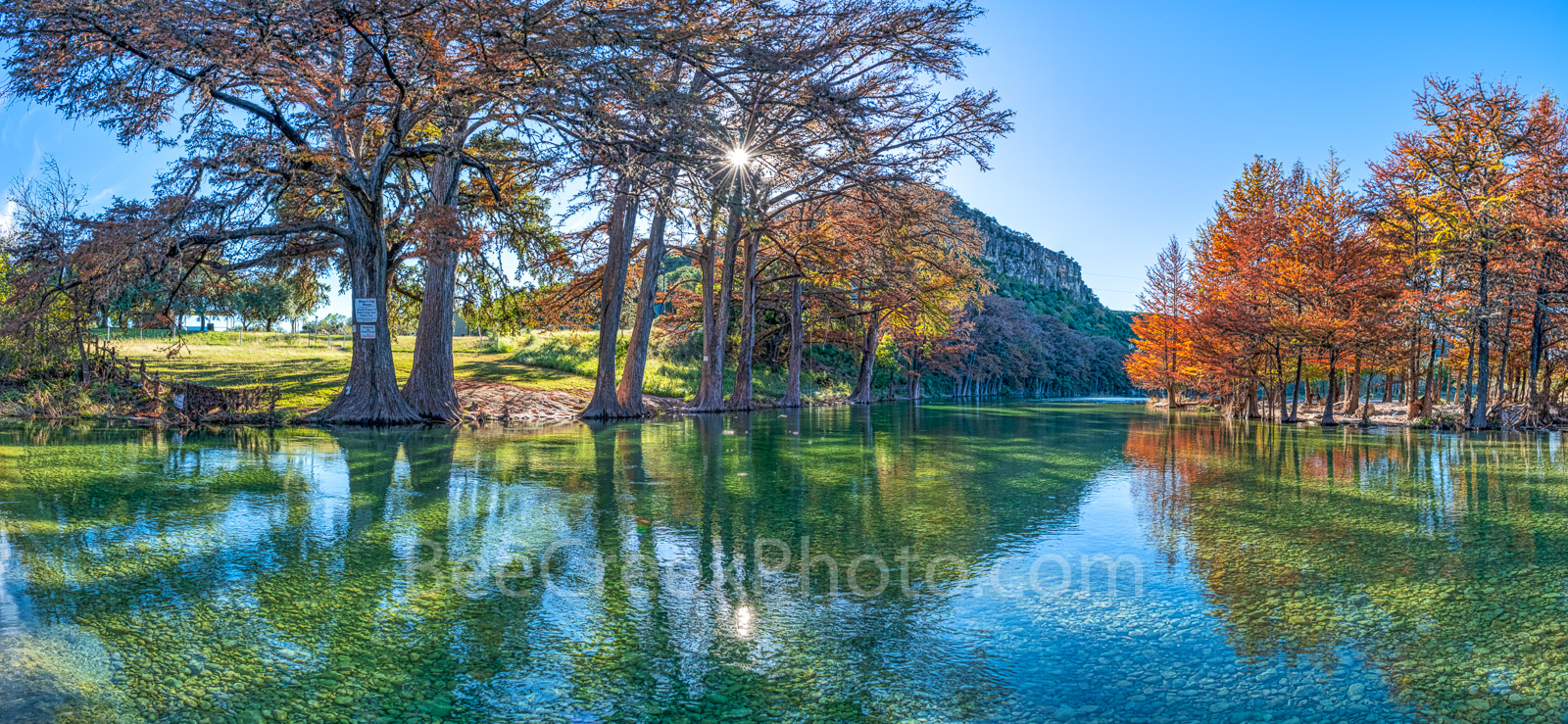 texas hill country, Frio River, sun, twinkle, trees, cypress trees, fall colors, autumn, banks of the river, clear, blue green water, rocks, pebbles, waters. old baldy, landmark, texas landscape, texa, photo