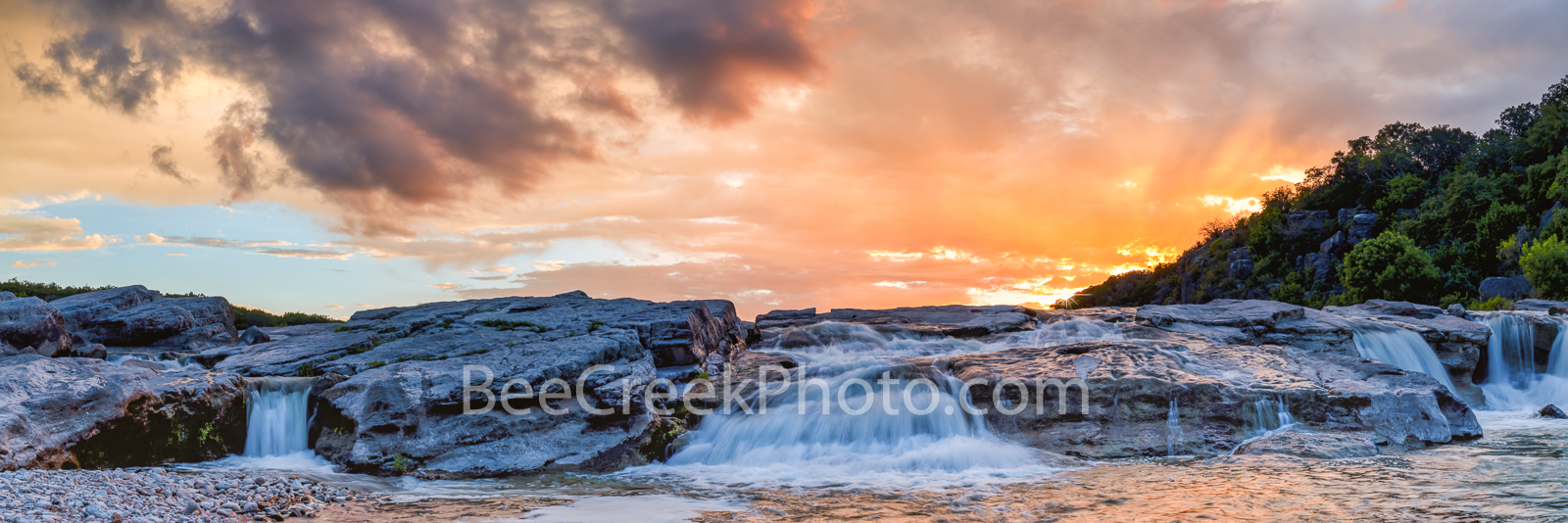 Texas Hill Country Sunset over Waterfalls Pano -  I went back to the pedernales falls park for a second time as the water has...