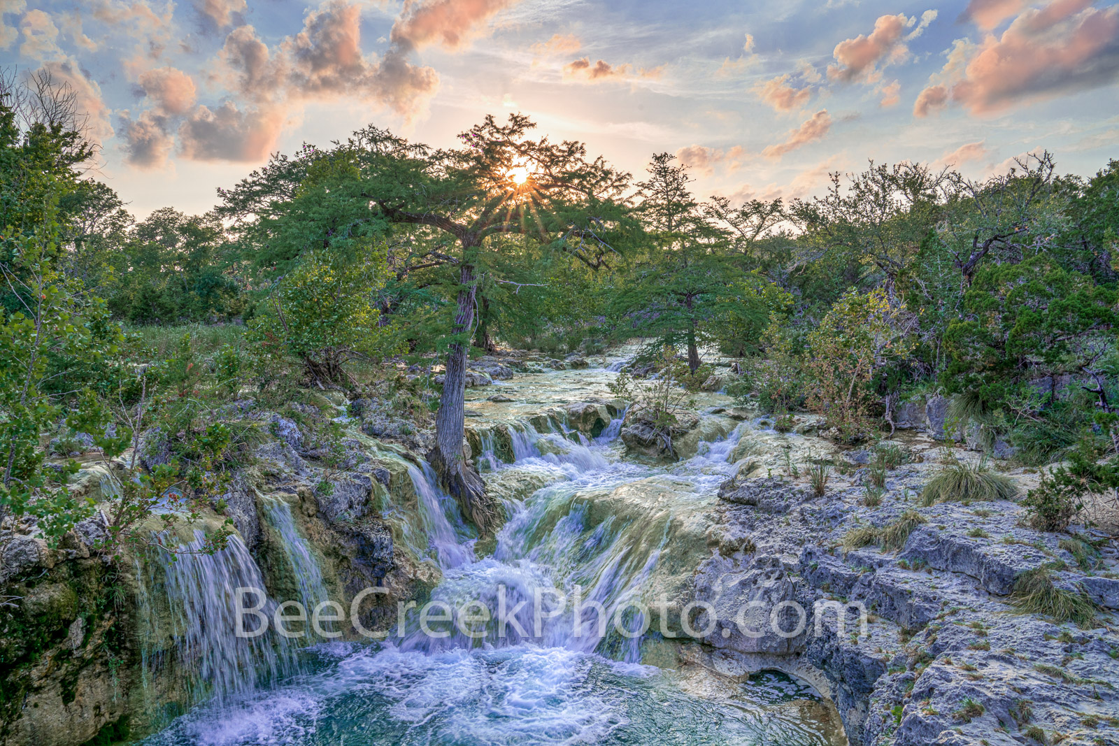 Texas Hill Country Waterfall. waterfall, falls, rocky, limestone, outcrop, hill coutry, landscape, rains, water, waterscape, blue green, aqua, spring, picture of waterfalls, texas hill country, hill c