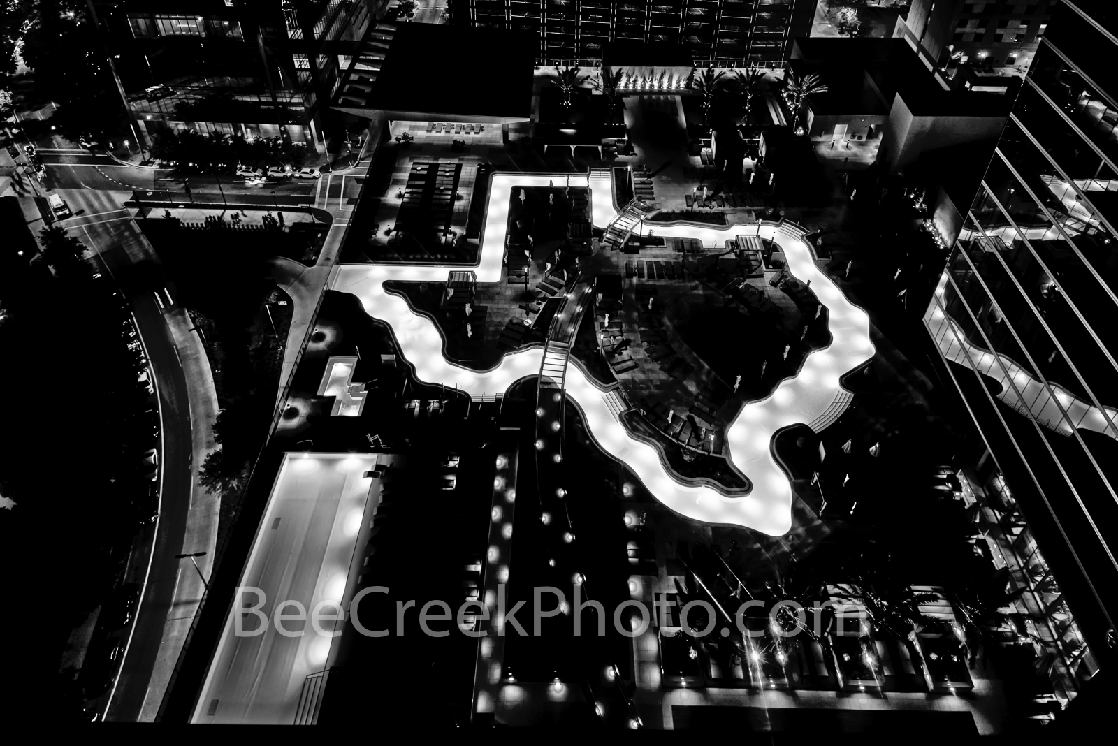 Texas Shaped Pool, Night, Houston, downtown, Marriott hotel, city, unique pool, texas images,, photo