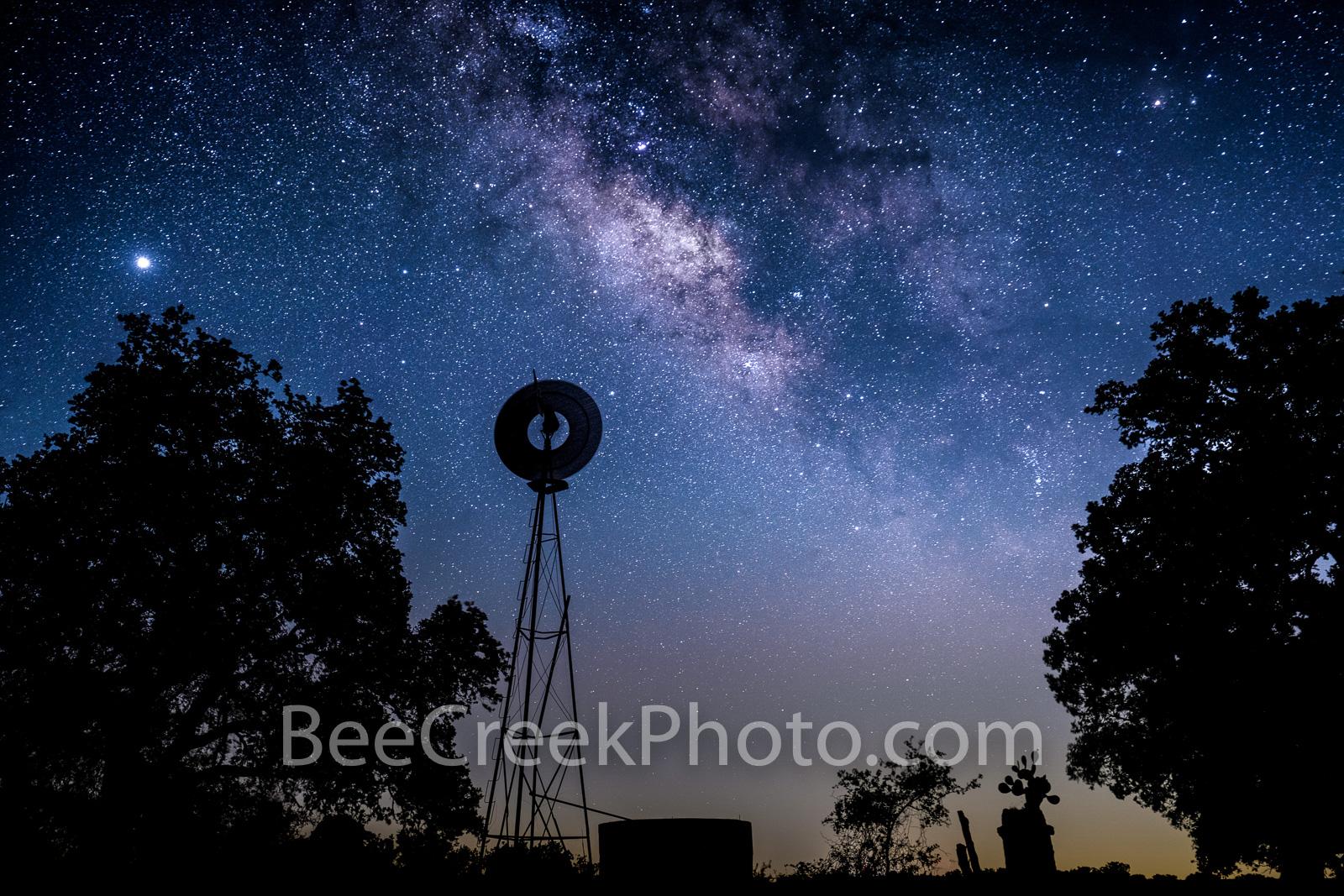 texas, windmill, water tank, prickly pear cactus, silouette, milky way, night sky, stars, galaxy, texas hill country, celestial, starry night, night, dark sky, dark skies, star, starscapes, venus, , photo