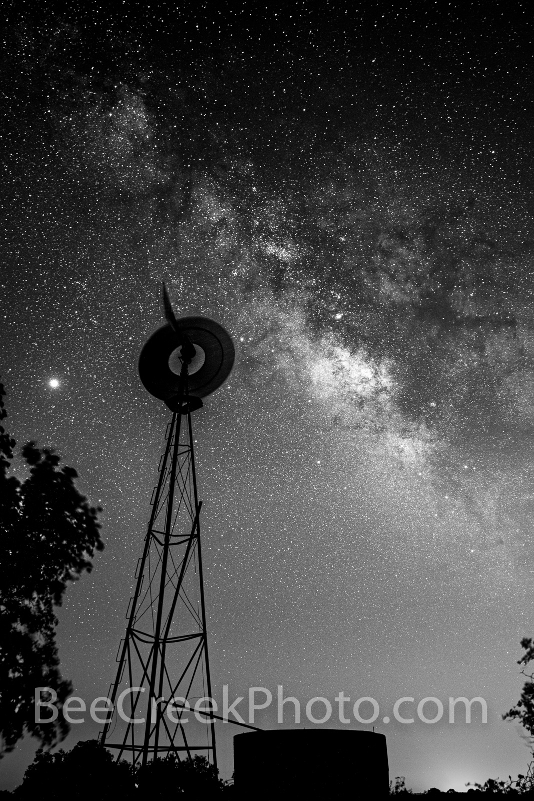 Texas Windmill with Milky Way B W Vertical - We captured this Texas windmill with the water tank in silouette between some trees...