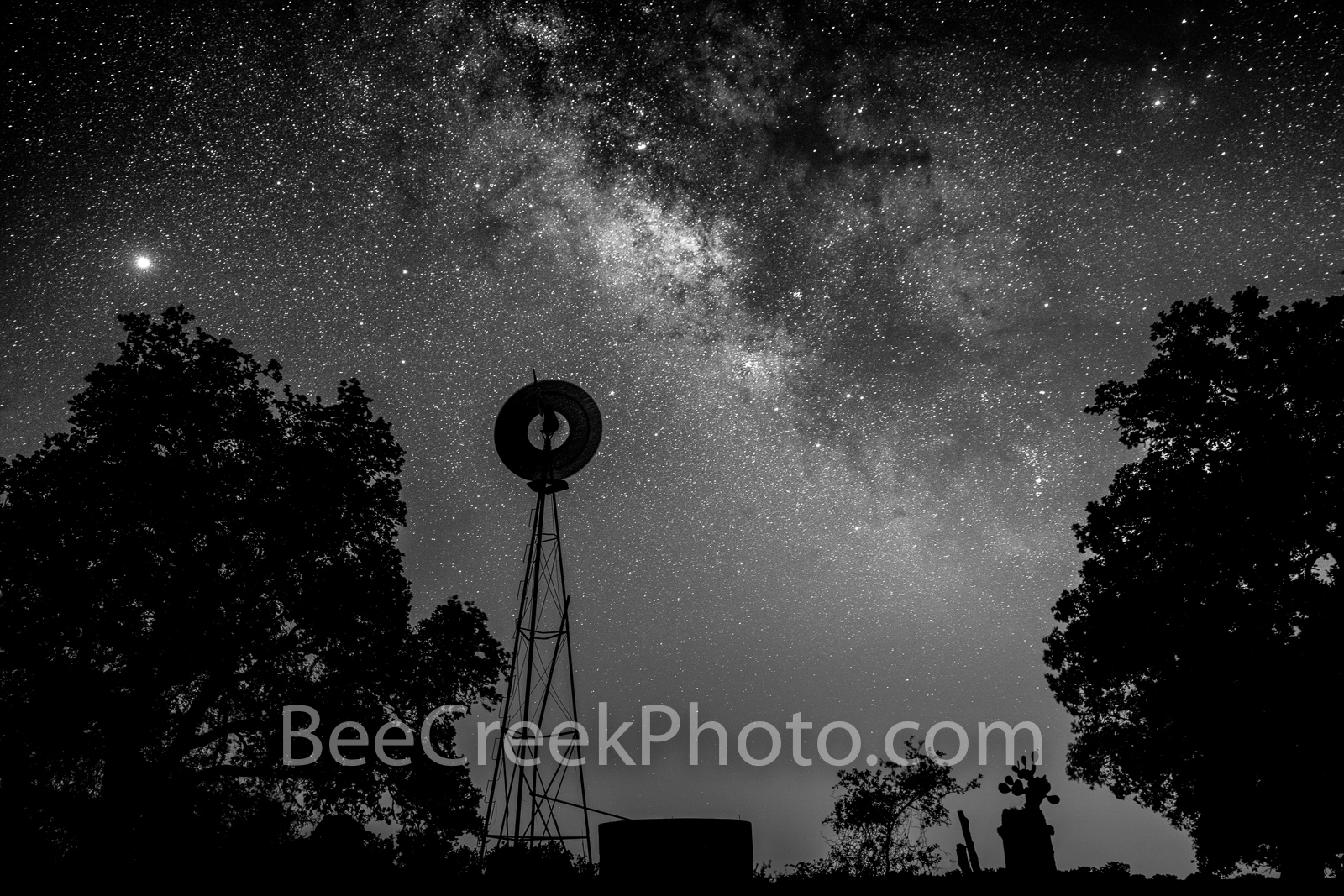 Texas Windmill with Milky Way BW - We captured this Texas windmill with the water tank in silouette between some trees as the...