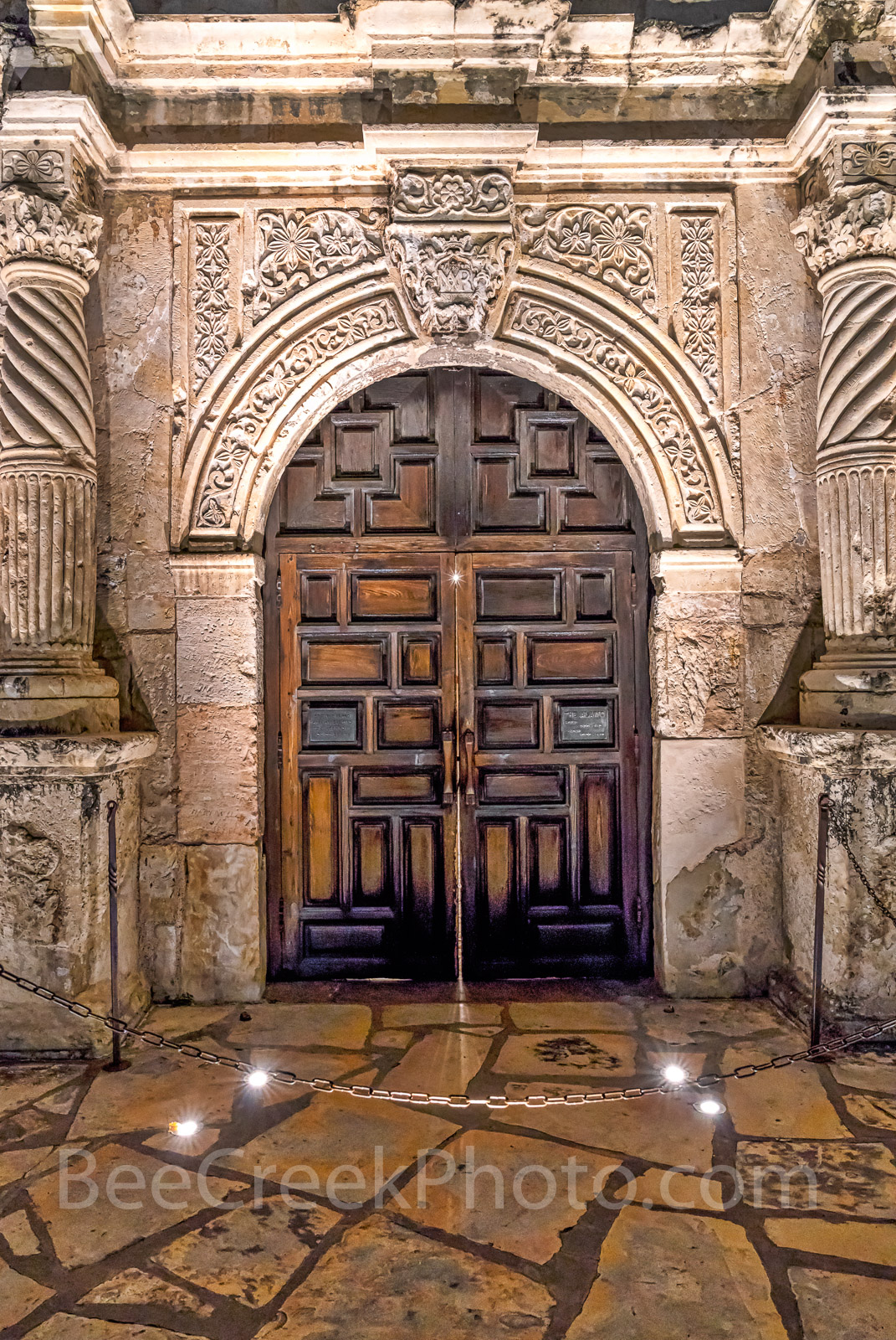 The Alamo Door -  The Alamo door in San Antonio Texas in the early morning before the sun came up. You can see the...