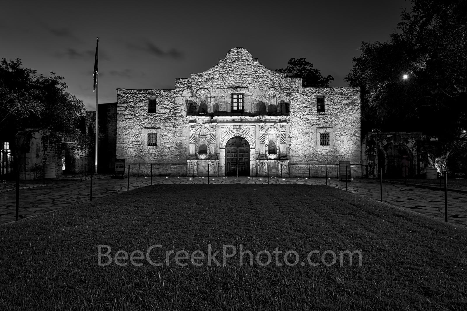 The Alamo in San Antonio in black and white, San Antonio, historic, , photo