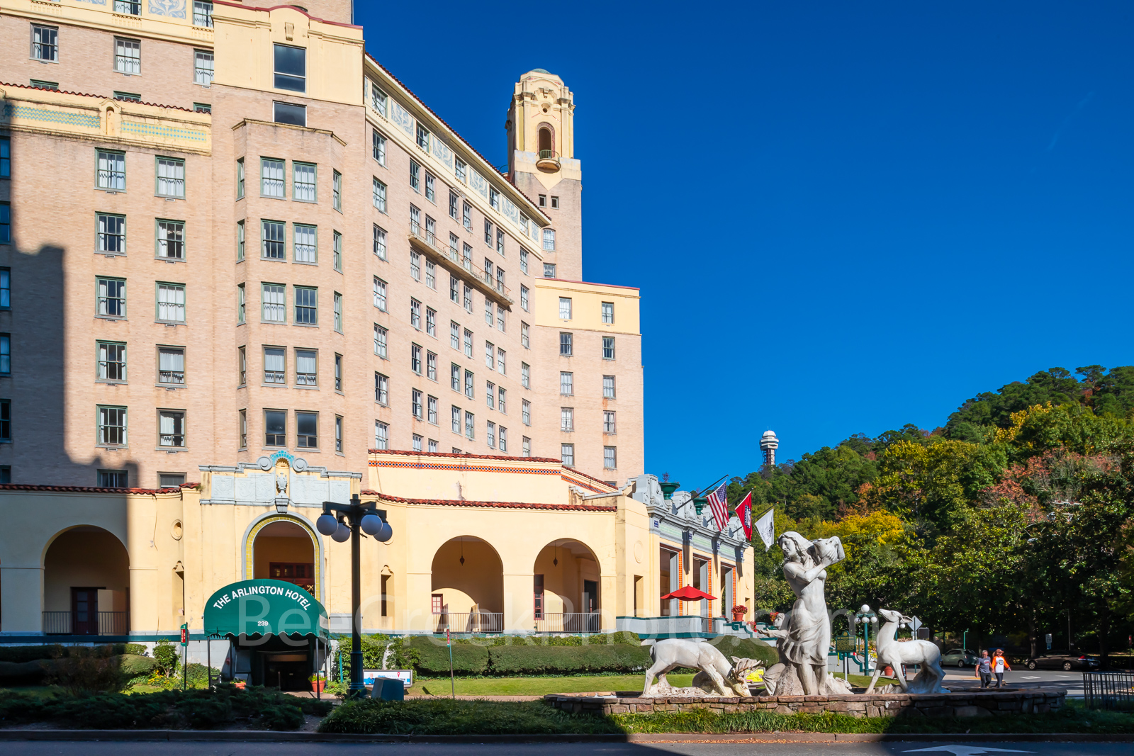 Arlington Hotel, Hot Springs, Arkansas, tower, tower mountain. statue, historic,, photo