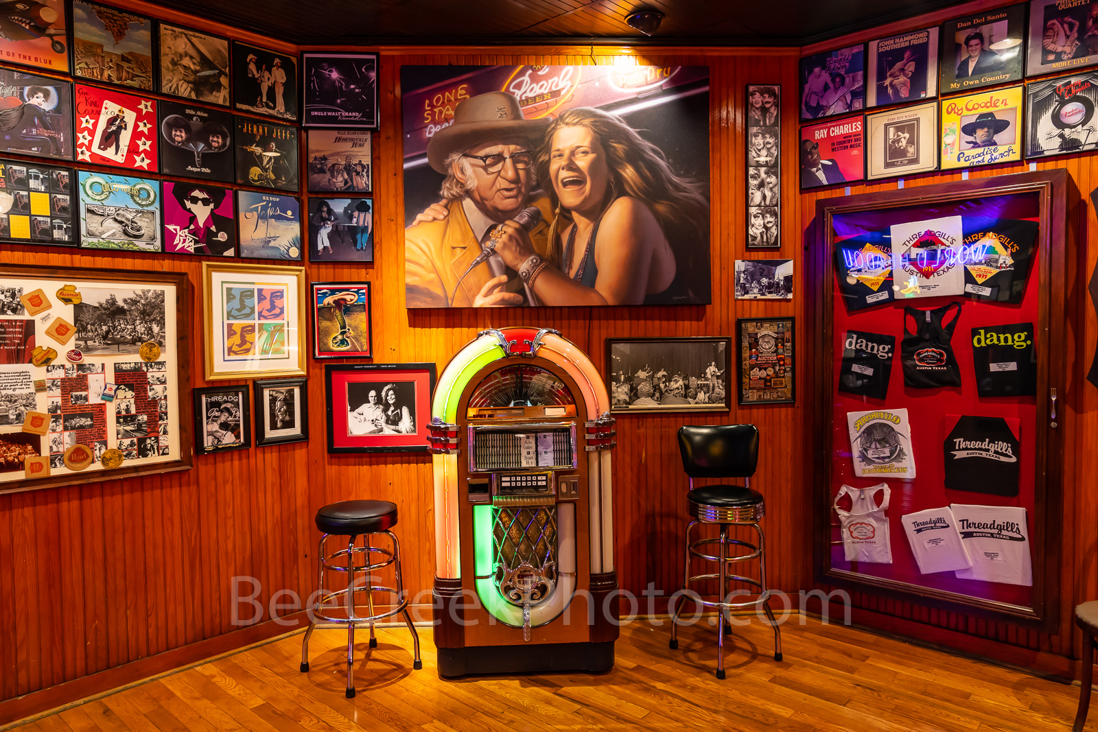 Austin, Threadgills World Headquarters, restaurant, juke box, music, Janice Joplin, Eddie Wilson, Armadillo, musicians,, photo