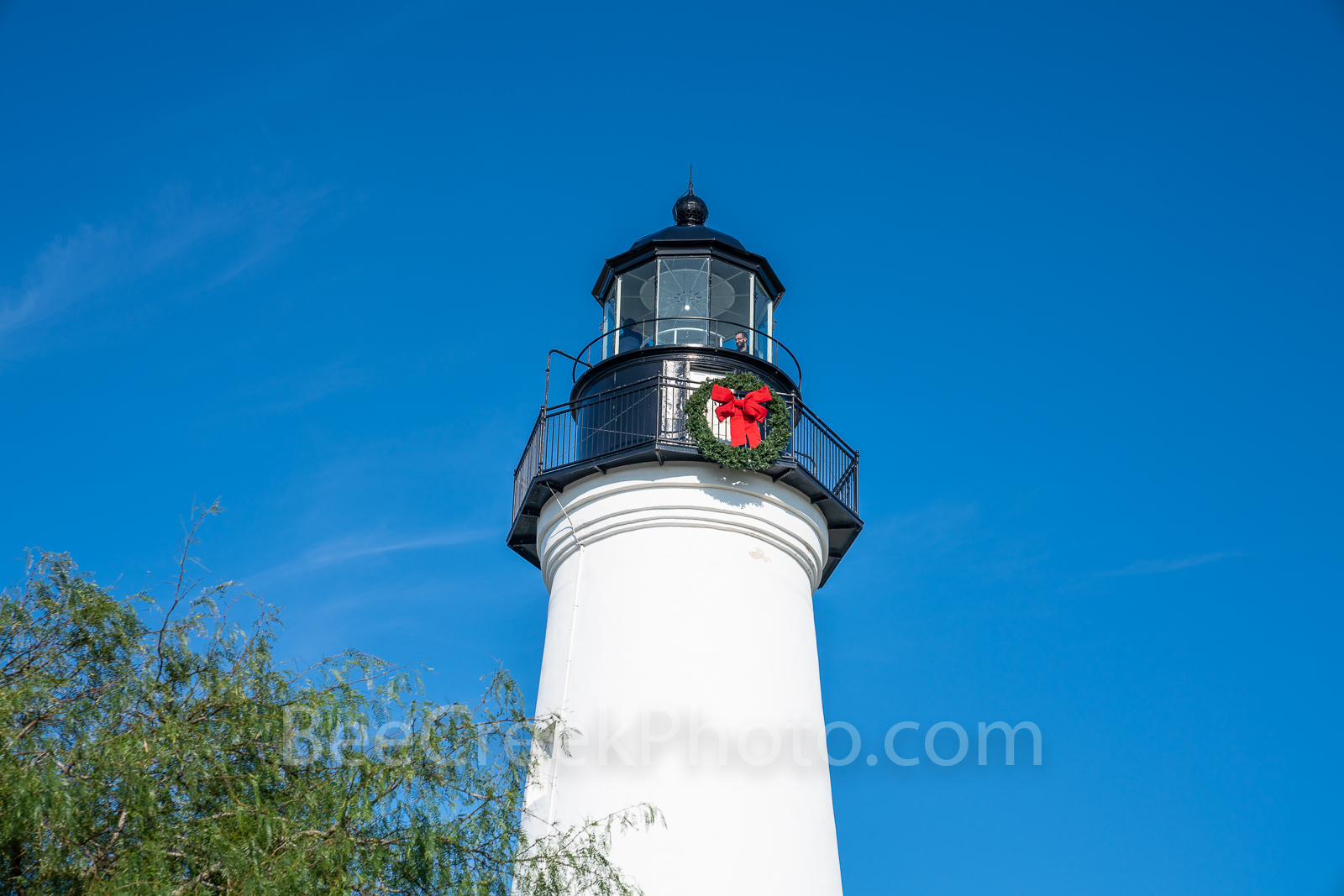 Port Isabella, Light House, holiday, wreath, blue sky, south padre island, barrier island, landmark, historical,, photo