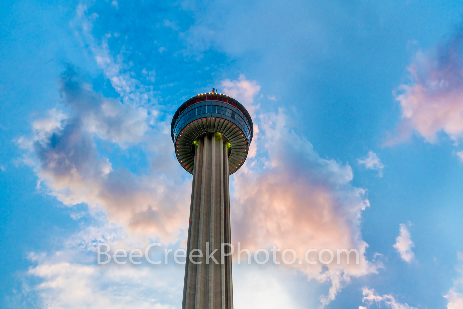 Tower of Americas from Below -The view of the tower of americas from below in downtown San Antonio. The Tower of the Americas...