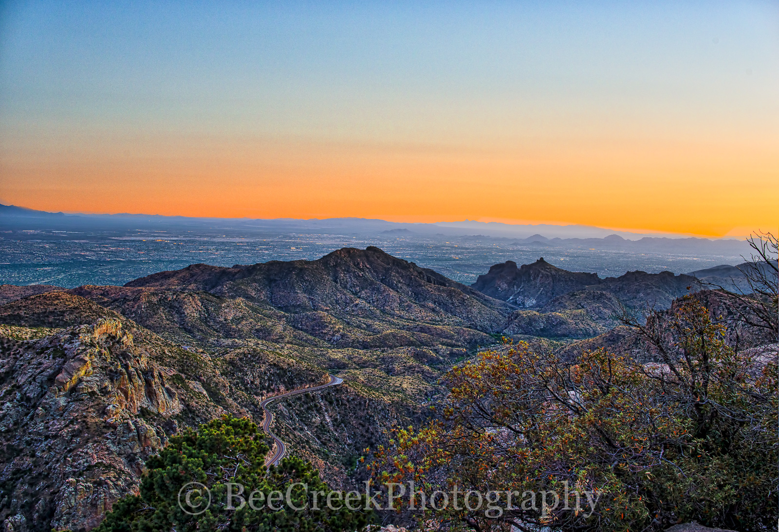 Tucson, city, skyline, cityscape, desert southwest, landscape, landscapes, fine art, urban, landscape, Arizona, sunset, Sunset Santa Catalinas Mountains, city lights,  mountains, road, vista, Cityscap, photo