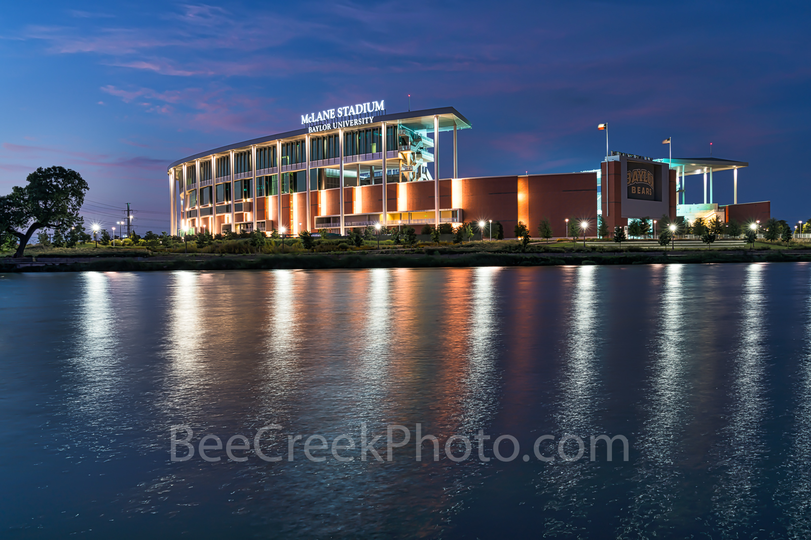 Waco, sunset, McLane Stadium, Baylor University, dusk, blue hour, Baylor Bears, stadium , University of Baylor, school, Brazos river, water, reflections, clouds, color, pink,, photo