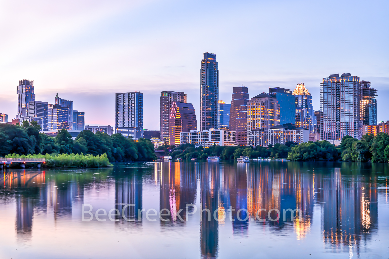 Austin Skyline, Violet Crown, austin, skyline, pics of texas, boardwalk, violet, purple, pink, lavender, sunset, blue hour, buildings, reflections, water, lady bird lake, urban, urban landscape, city,, photo