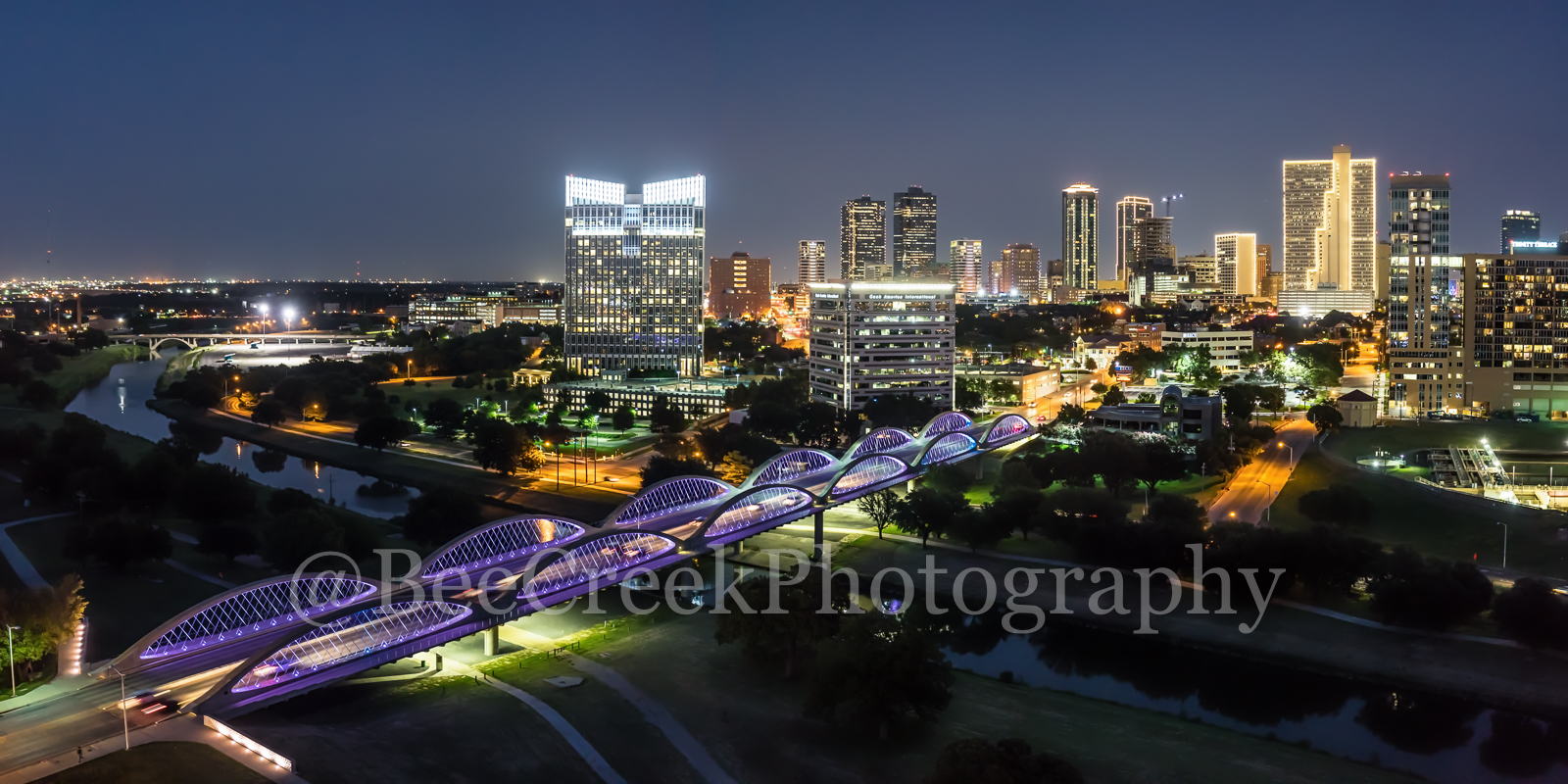 Twilight Fort Worth Skyline , Fort Worth, skyline, skylines, cityscape, cityscapes, downtown, twillight, seventh street bridge, 7th street, Trinity river, panorama, pano, Tarrant county, DFW Metro,, photo
