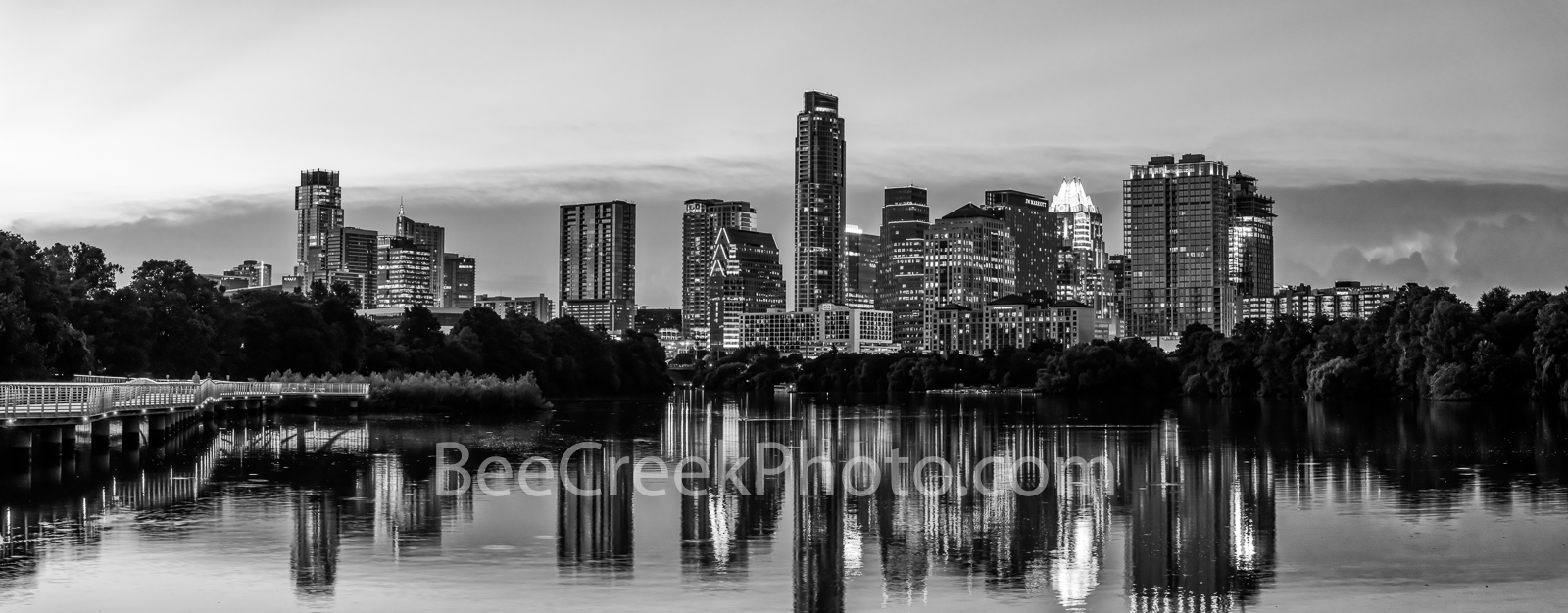 Twilight Over Austin Skyline Pano BW - Another colorful capture of the Austin Skyline just as twilight is approaching with just...