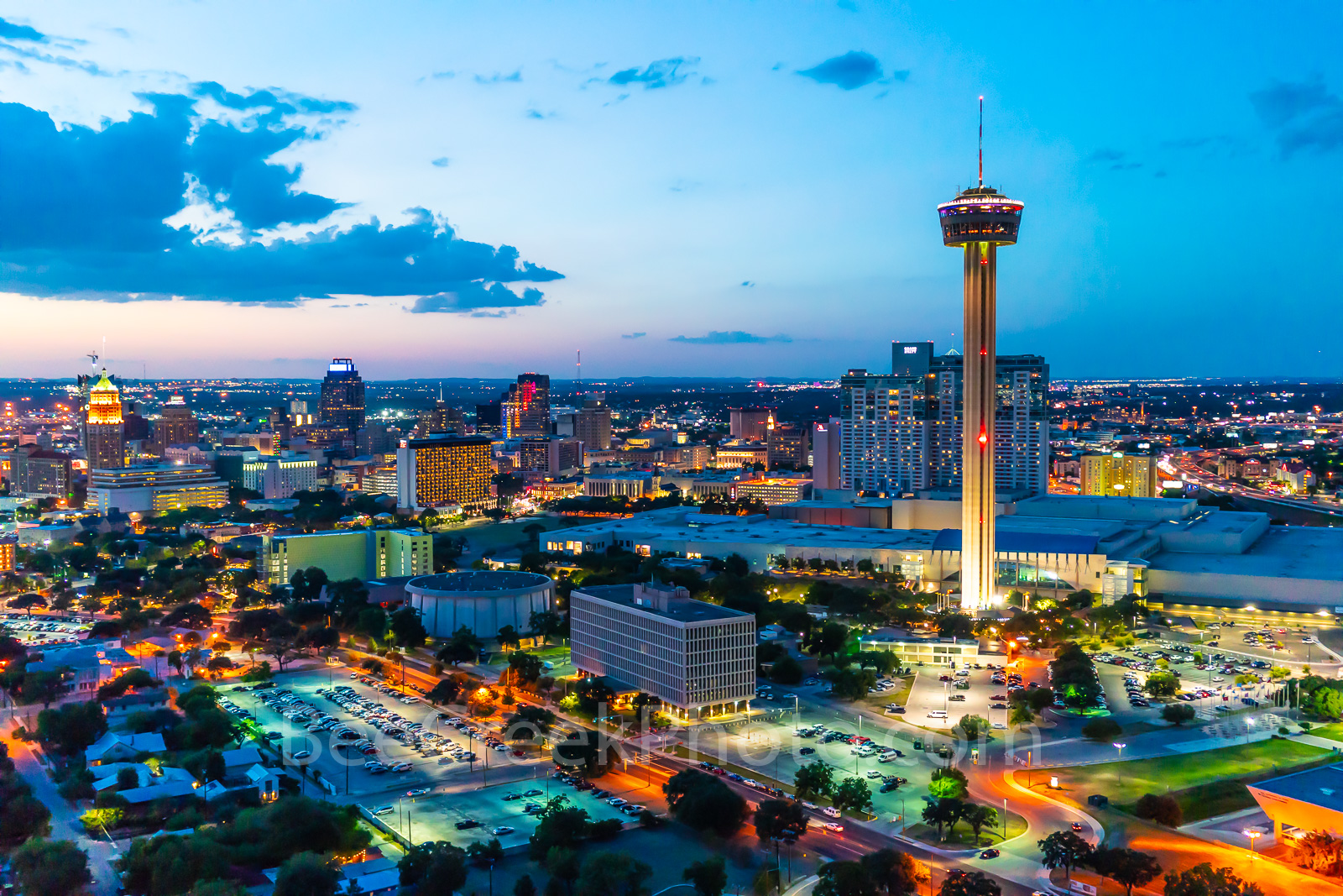 San Antonio skyline, San Antonio, cityscape, twilight, aerial, Tower of America, Tower Life, Frost Bank, building, Drury Hotel, Grand Hyatt, George Gonzales, convention center, historic, landmark, , photo