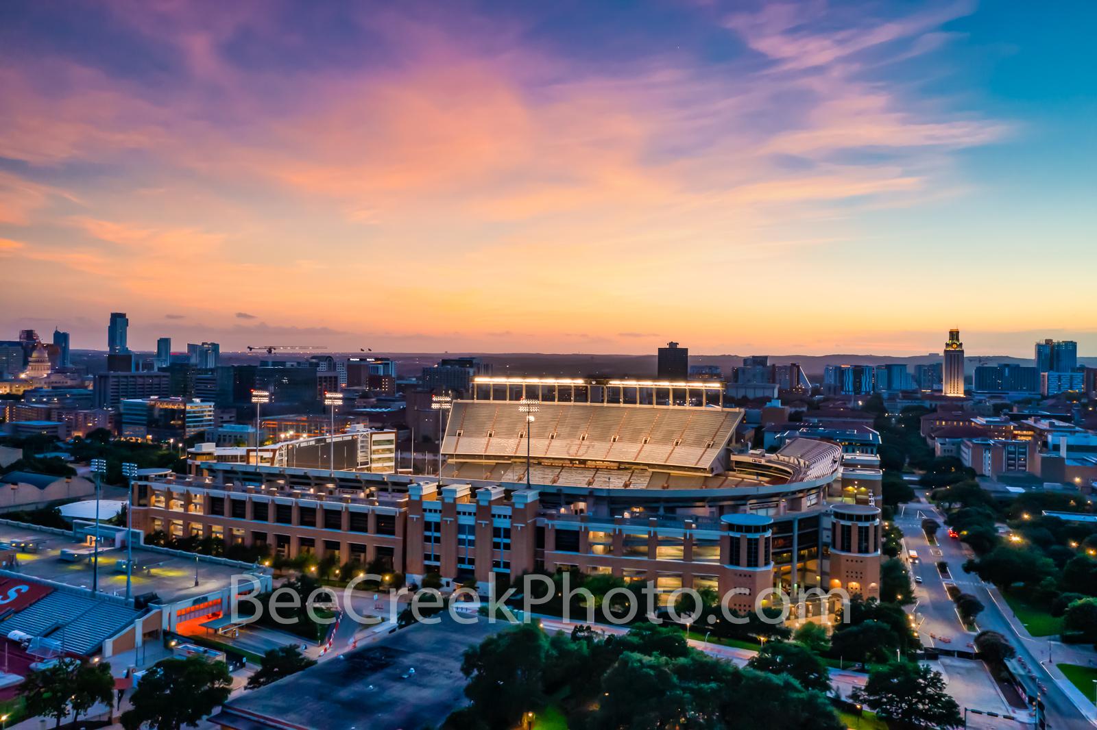 memorial stadium, austin, austin texas, aerial capture, aerial, downtown austin, ut stadium, stadium, texas capitol, sunset...
