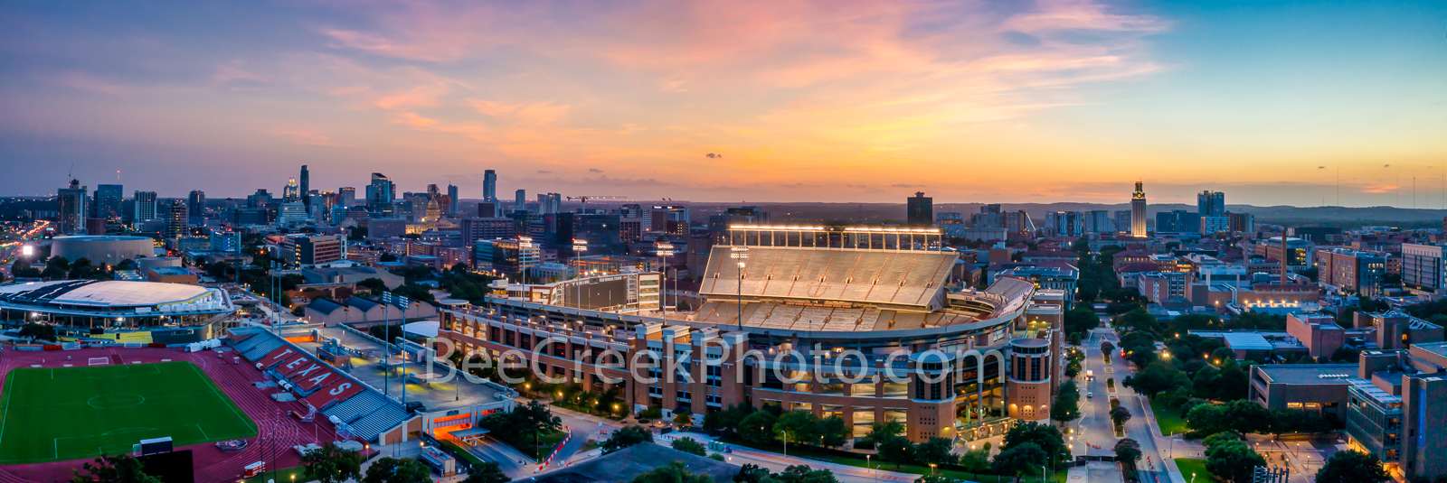 UT Sport Center at Sunset Pano - This is an aerial capture of the new additions to the sport center for University of Texas as...