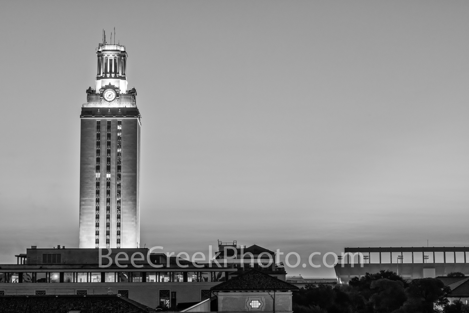 ut tower, texas, austin, austin texas, downtown austin, university of texas, ut austin, student union, darrell k royal, stadium, ut campus,black and white, bw, b w, darrell k royal-texas memorial stad, photo