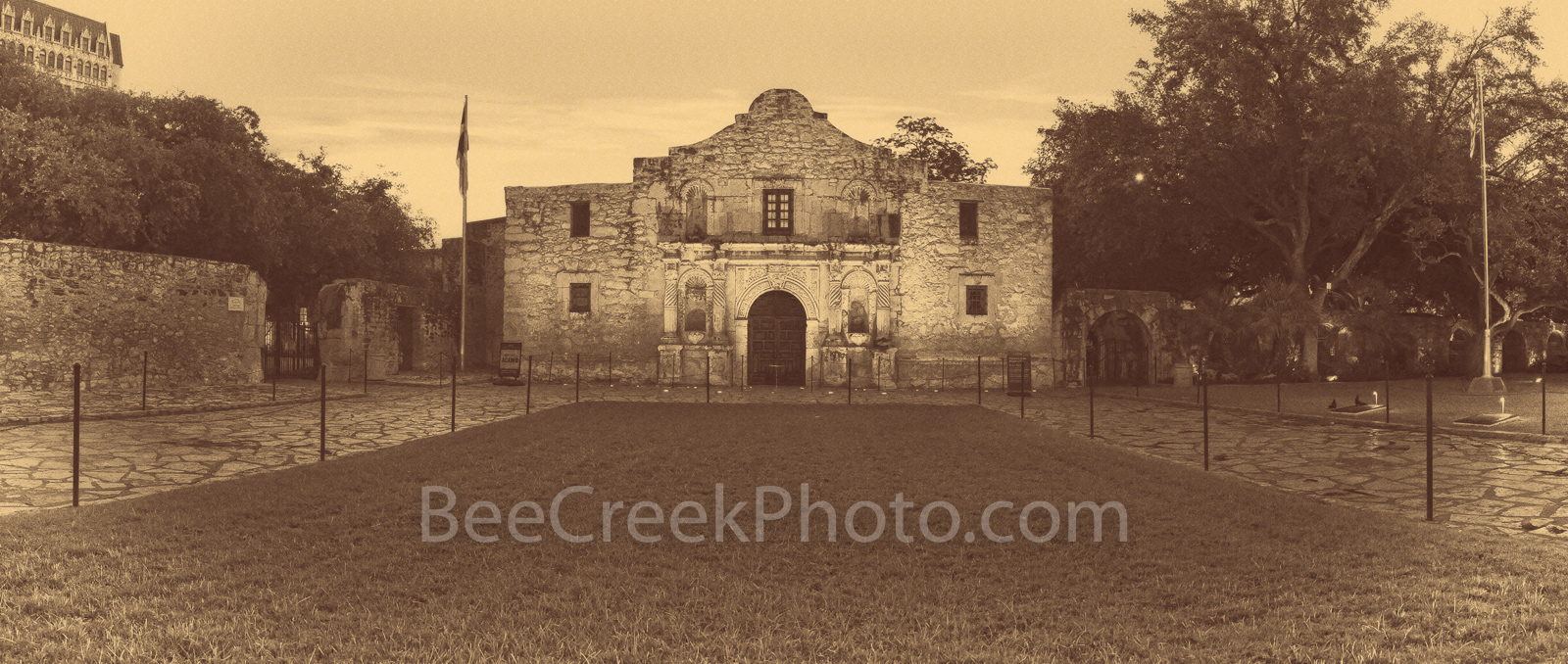 Vintage Alamo Panorama - San Antonio landscape on prints, canvas and metal. We captured the Alamo in San Antonio Texas at sunrise...
