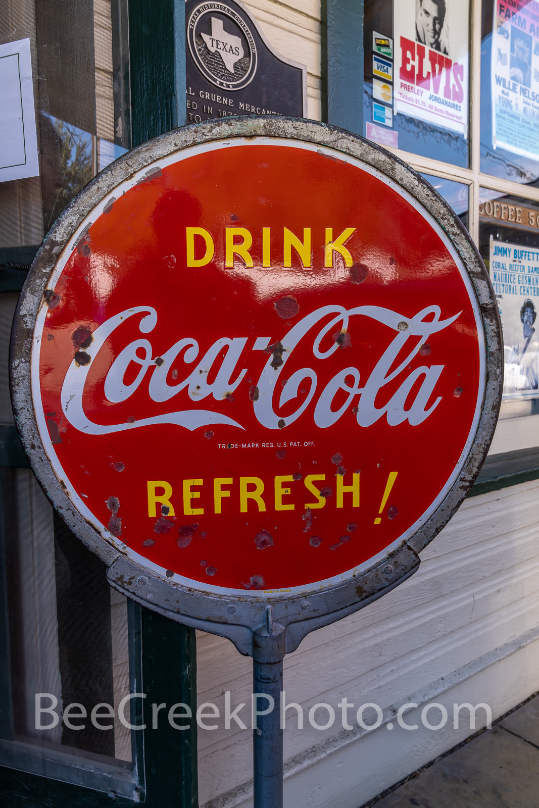 Vintage, Coca Cola Sign, Gruene General Store, New Braunsfel Texa, old signs,  Gruene Texas, bullet holes, target practice. , photo