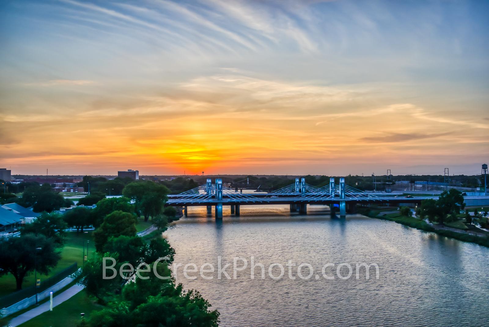Waco, Brazos River bridge, sunset, aerial, downtown, IH35 stay bridge, colorful led, texas, Jack Kultgen Freeway,, photo