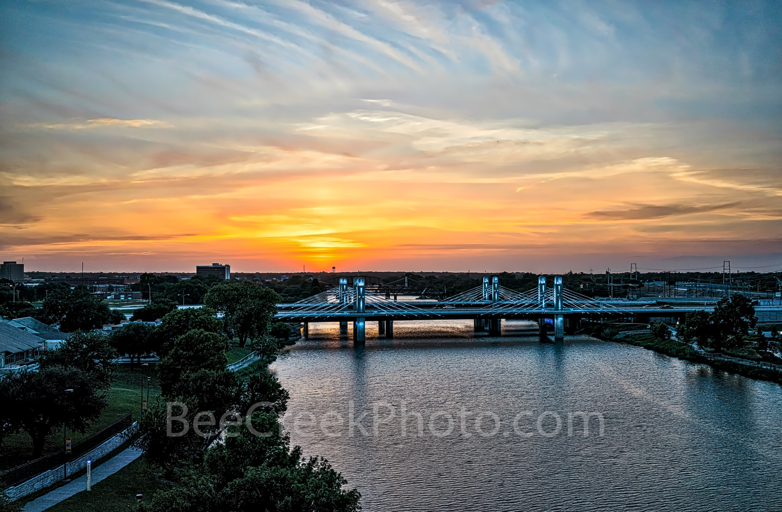Waco, Brazos River bridge, sunset, aerial, downtown, IH35 stay bridge, colorful led, texas, Jack Kultgen Freeway,, photo