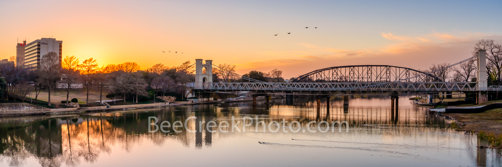 Waco Suspension Bridge Sunset Pano - This is the Waco supension bridge which is a 152 year old bridge as we captured it at sunset...