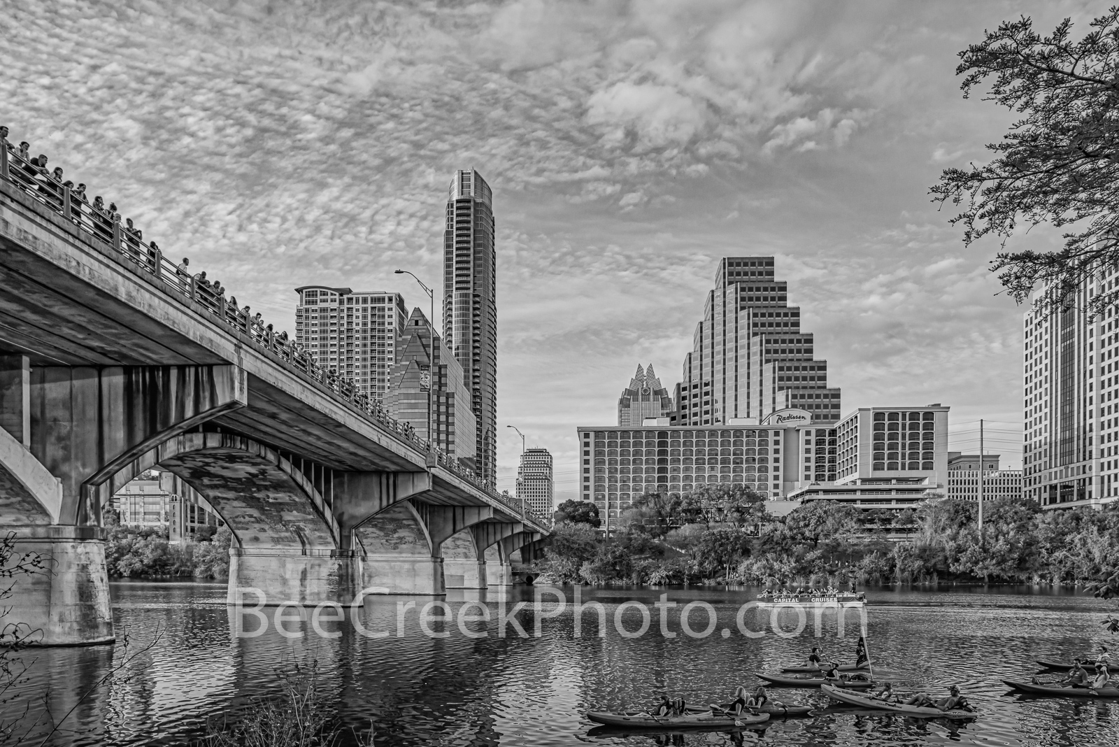 Waiting on the Bats BW - This is the nightly bat watch that goes on in Austin Texas with people along the congress bridge and...