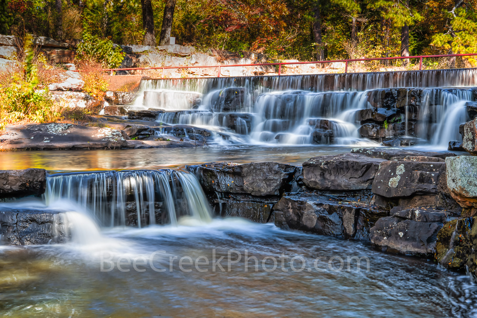 forest, fall, waterfall, downstream, lake bailey, dam, flow, water, rocks, cedar falls, national forest, arkansas, jean petit, fall colors, cascading,, photo