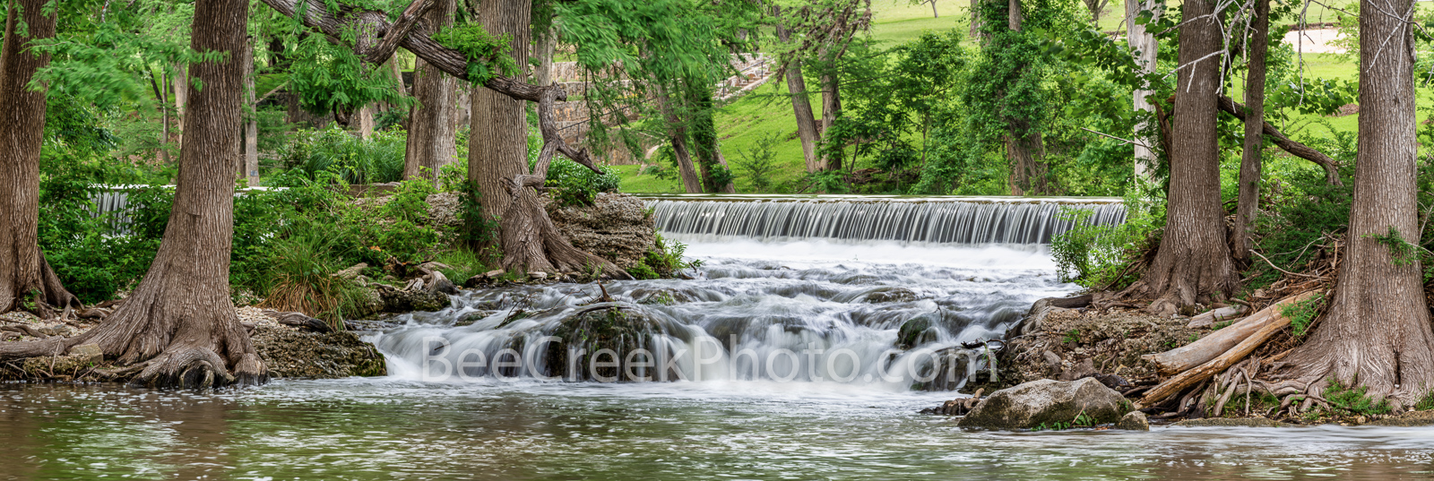 Waterfalls Along the Guadalupe River Pano- This is along the guadalupe river in the Texas hill country as the river twist and...