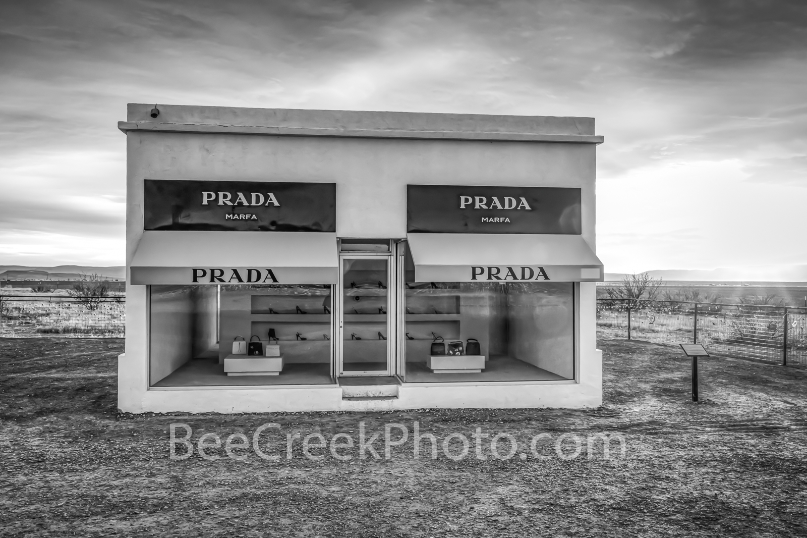 West Texas Prada BW - This images captures the Marfaa Prada exibit in Valentine Texas just as it sit right off the road in black...