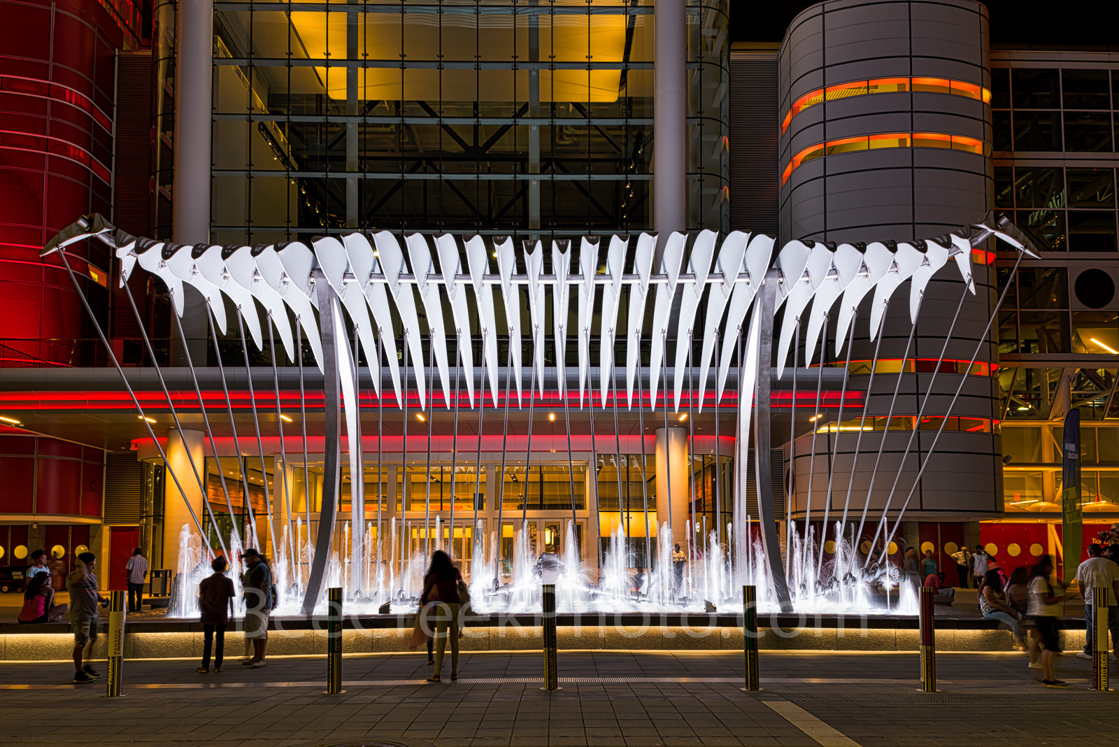 Houston, George Brown convention center, Wings Over Water, sculpture, downtown, street scene, lifestyles, city life, urban, art, water feature, horizontal, people, night, photo