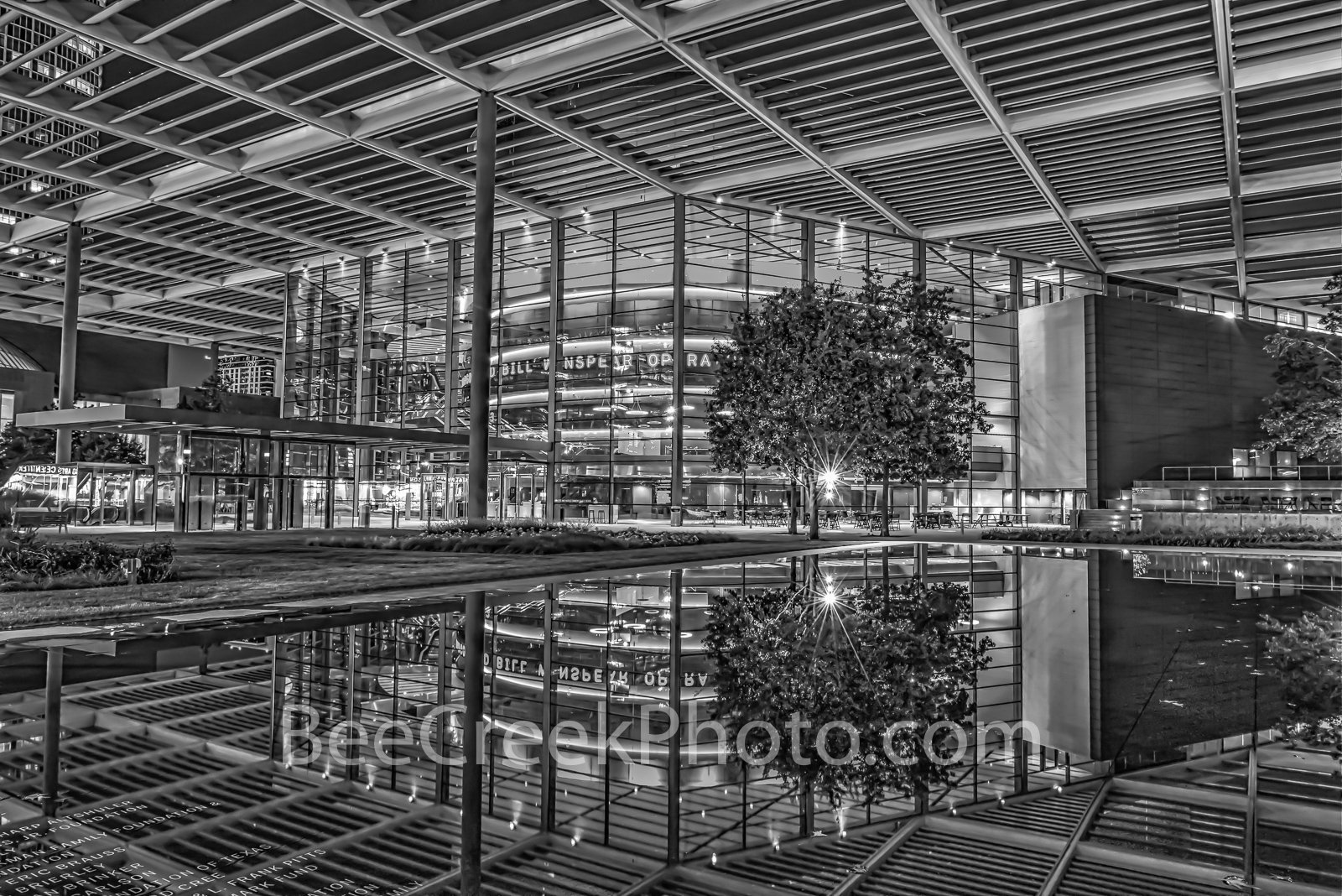 Winspear Opera House B W - Winspear Opera House in black and white located in the Art District in Dallas Texas. The Winspear...